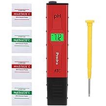 Medidor ph agua preciso,Preciva medidor ph digital profesional con Pantalla LCD Retroiluminada,4 Batería Incluida y con 4 paquetes de Polvos de Calibración para Neutralizar el líquido,Rojo