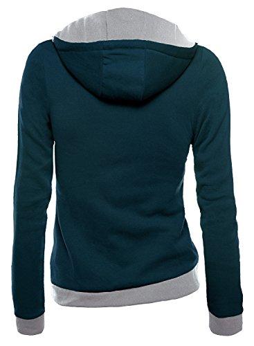 DJT Damen Sweaters Hoodie Sweatshirt Schraeg Zipper Kapuzenpllover Dunkelblau