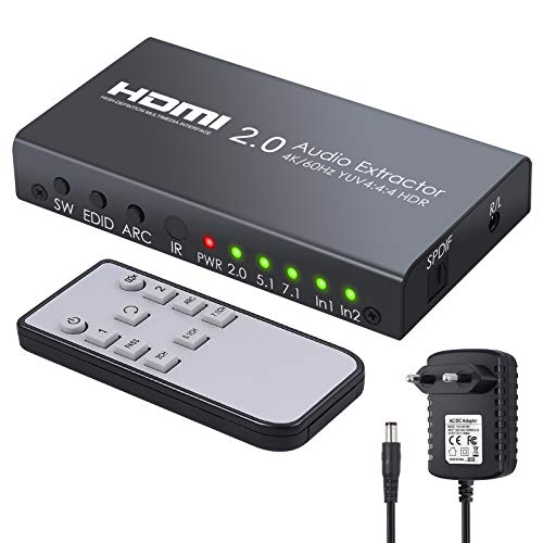 2x1 HDMI 2.0 Switch mit Audio Extractor/unterstützung 4K @ 60Hz YUV 4: 4: 4 und HDR HDMI Switcher HDMI-Audio-Konverter mit IR-Fernbedienung für Blu-ray-Player Xbox One X PS4 Pro-Projektor HDTV (2x1 Hdmi Switch)