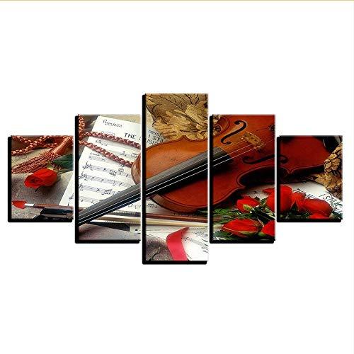 er Hd Wandkunst Modulare Leinwand Moderne 5 Panel Geige Musik Wohnzimmer Bilder Dekoration Malerei-40X60 / 80 / 100Cm ()