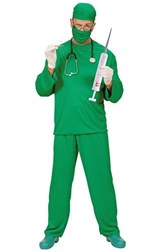 Chirurg OP Arzt Doktor Krankenpfleger Männer Kostüm Chirurgen Erwachsene Herren Gr. L Komplett mit Oberteil Hose Kappe Mundschutz Plastikhandschuhe Stethoskop aufblasbare Riesenspritze Junggesellenabschied