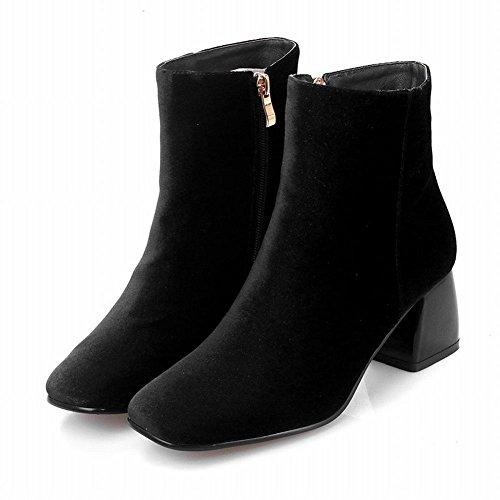 Mee Shoes Damen Vierkant Suede Reißverschluss chunky heels Ankle Boots Schwarz