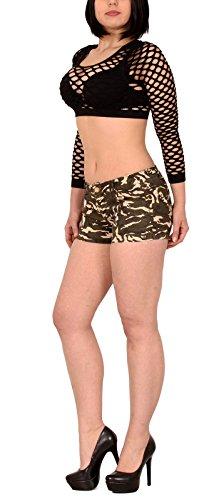 by-tex shorts femmes avec motif militaire mini hotpant bermuda shorts court shorts pour femmes H102 H103