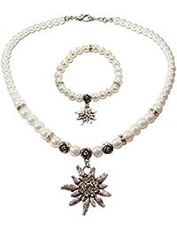 43d1371a1687 Traje joyas   Trachten Juego Perla Collar   de color blanco inoxidable  pulsera   Mujer tirolesa