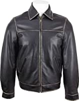 UNICORN Mens Casual Real Leather Jacket Black With Rub Off Effect On Edges #EJ