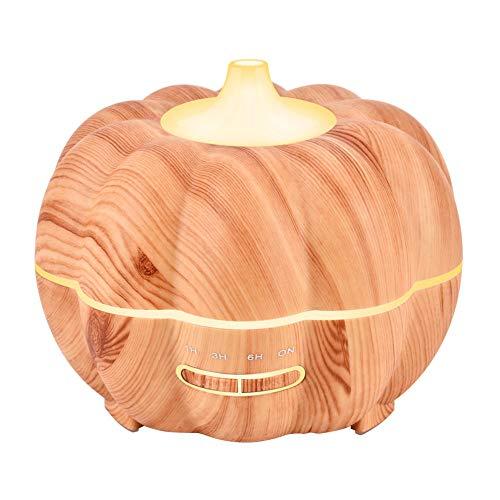 XIESENYU Luftbefeuchter,Halloween Kürbis Holz Aromatherapie Sprayer Hause Ätherisches Öl Ultraschall @ Light Holzmaserung 17,0 cm * 17,0 cm * 15,3 cm_British Regulatorischen