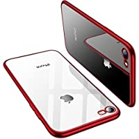 TORRAS iPhone 8 Case, iPhone 7 Case, Ultra Thin Slim Crystal Clear Case with Stylish Edge Soft Silicone TPU Gel Bumper Case Cover for iPhone 7/ iPhone 8 - Red