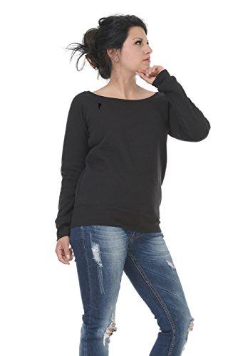 Pullover schulterfrei mit u-boot-ausschnitt mit kleiner Elfe der Marke 3Elfen Schwarz