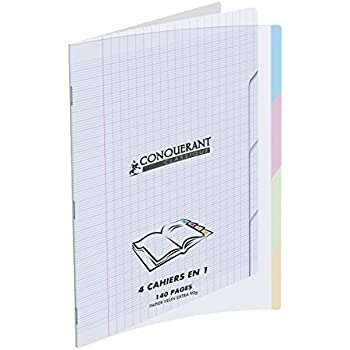 Conquérant 47228 Cahier Classique 4 En 1 Polypropylène A4+ 240 x 320mm Papier Assorties