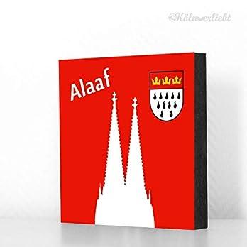 Köln Bild 10x10cm – Alaaf, Dom, Wappen (roter Hintergrund), Karneval, Tischdeko, MDF, Geschenk, Deko, Kölngeschenk, Holz…