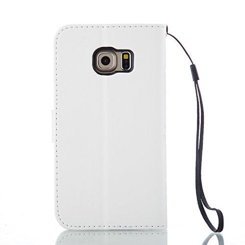 Galaxy S6 Edge Hülle,Galaxy S6 Edge Schutzhülle,Galaxy S6 Edge Case,Galaxy S6 Edge Leder Wallet Tasche Brieftasche Schutzhülle,ikasus® Prägung Klee Blumen Muster PU Lederhülle Flip Hülle im Bookstyle  Groß Schmetterling:Weiß