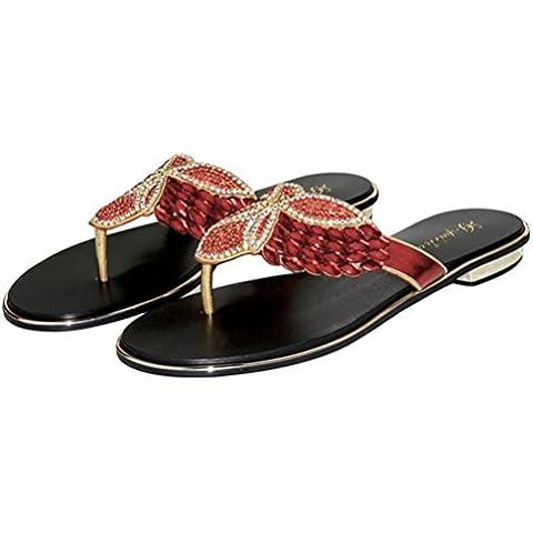 Ei&iLI Zapatos de mujer verano rhinestone sandalias slin en plano boda zapatillas de playa vestido de rojo. oro. plata , red , 42