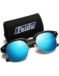 FEIDU Polarisierte Semi Randlose Sonnenbrille für Männer Retro Marke Halbmetallrahmen Sonnenbrille Unisex Für Männer Frauen FD3030