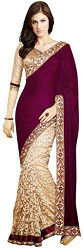 Aracruz Ethnic Clothing Violet Coloured Velvet and Brasso Net Sarees For Women Party Wear Offer in Latest Collection New Designer Saree with Designer Blouse  available at amazon for Rs.398