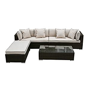 41Le6JHnHuL. SS300  - Rattan Modular Day Bed Sofa Set Monaco Garden Furniture including Outdoor Covers in Brown
