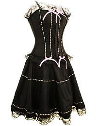 Imposer la livraison gratuite, Mesdames Noir Corset robe de ruban rose (corset bustier + jupe) par aimerfeel, taille 32-34, 36,38,40, 42,44,46,46-48,48