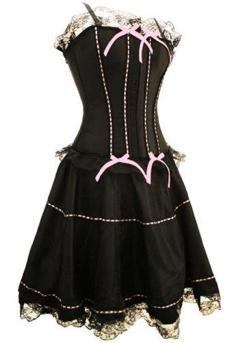 signore stunning corsetto nero con il nastro rosa con il vestito Nero con il nastro rosa