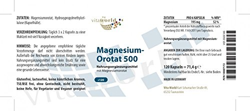 Vita World Magnesium Orotate 195mg per day 120 Capsules Made in Germany