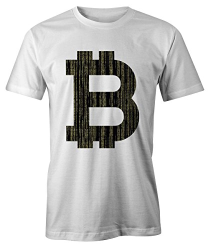 RiotBunny Bitcoin Logo Letter Cryptocurrency BTC Ltc Digital Currency T-Shirt Camiseta Hombres Blanco X-Large