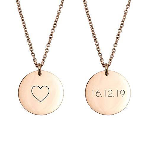 Geschenke.de Damen Kette mit Gravur und rundem Plättchen und Herz - pesonalisierbare Kette mit Datum roséf.