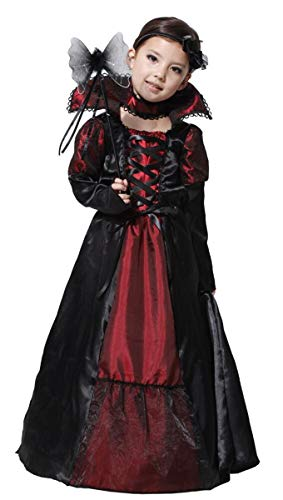 Mädchen Lady Vampirin Vampir Kostüm Prinzessin Vampirkleid Dracula für Halloween Kinder Vampire Karneval Fasching Kleid Costumes Verkleidung Outfit