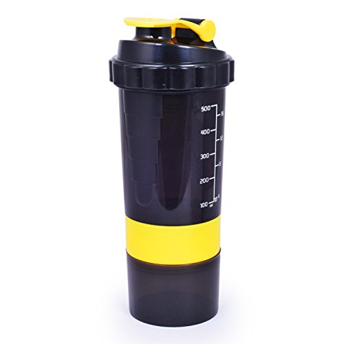 Fiestar Gym Shaker Bottle With Compartment For Pills And Protein Powder 500ml