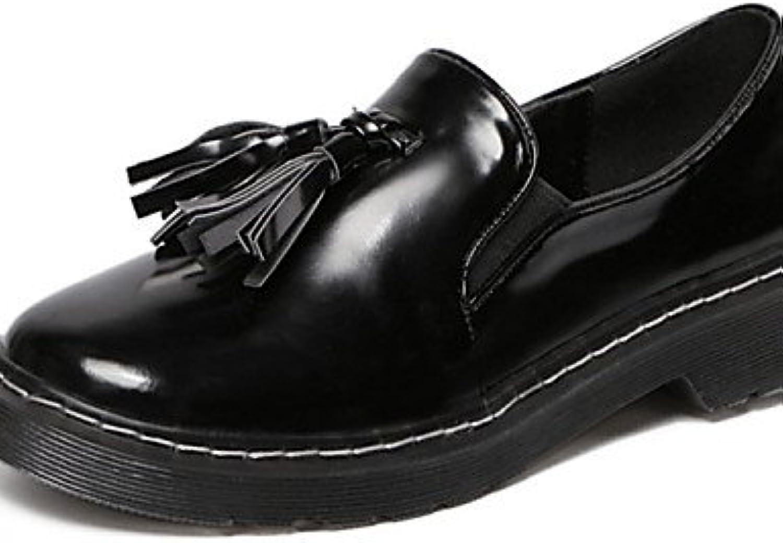 ZQ hug Zapatos de mujer-Tacón Robusto-Comfort / Punta Redonda-Oxfords-Exterior / Casual-Cuero Patentado-Negro...