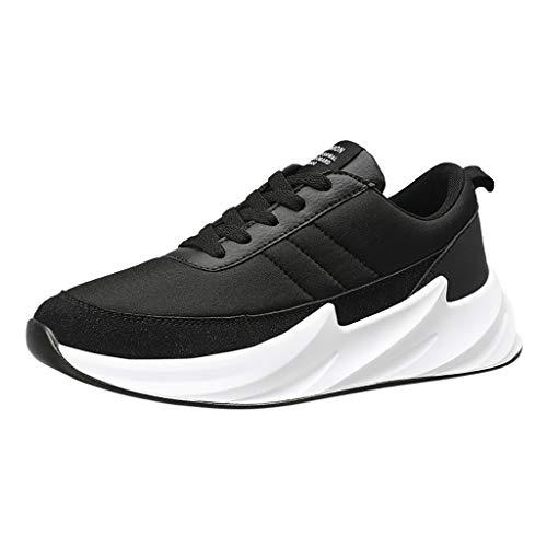 AIni Herren Schuhe,Mode Beiläufiges 2019 Neuer Heißer Sommer Outdoor Casual Schnürschuhe Sportschuhe Mesh Breathable Lauf Sneakers Partyschuhe Freizeitschuhe(44,Schwarz)