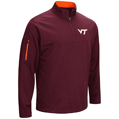 Colosseum NCAA Men 's VF Poly Fleece 1/4Zip Pullover, Herren, Virginia Tech Hokies-Maroon Virginia Tech Hokies Football