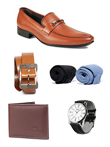 Bacca Bucci Men Combo Pack Of 5 : Formal Shoes:7 , Watch , Wallet, Belt, Socks