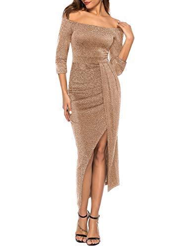 ZJCTUO Damen Kleid Abendkleid Schulterfreies Cocktailkleid Jerseykleid Skaterkleid Hochzeit Elegant Festlich Partykleid glänzend und hoch geschnitten brautjungfernkleider -ausschnitt A-linie Kurz