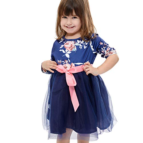 Realde Kinder Mädchen Baby Kurzarm Mini Kurz Kleid Elegant Prinzessin Mesh Floral Kleid Sommerkleid Cocktailkleid Festlich Babybekleidung Abendkleid Partykleid - Mesh Cheer Shorts