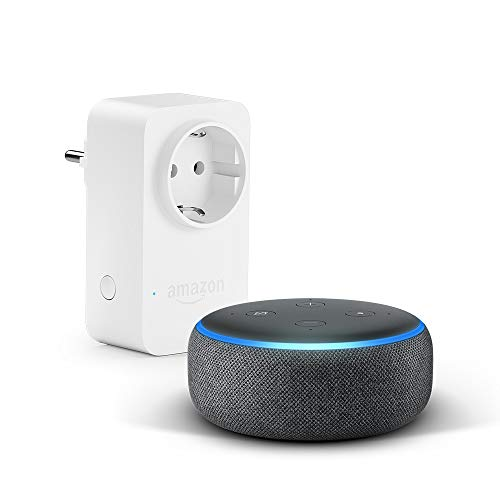 Echo Dot (3. Gen.), Anthrazit Stoff + Amazon Smart Plug (WLAN-Steckdose), Funktioniert mit Alexa