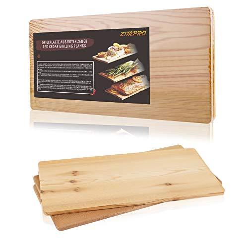 IZIMU Grillbretter,Zedernholzbrett zum Grillen,Räucherbretter aus Zedernholz hergestellt aus 100% natürlichem Red Zedernholz,Maße:293 * 142 * 7 mm, BBQ...