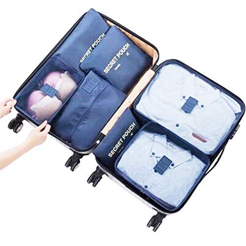 Kleidertaschen Set Koffer-Organizer Packtaschen Packwürfel Reisetasche Schuhbeutel Wäschebeutel Reisegepäck Kleidertaschen Ideal für Reise Ultra-leicht Wasserdichte (Marine)