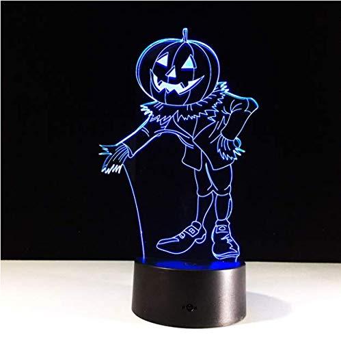 (Effekt Kürbis Mann Hologramm 7 Farben Ändern Led Nachtlicht 3D Led Nachtlicht Led Tabelle Halloween Weihnachten Neujahr Lampe)