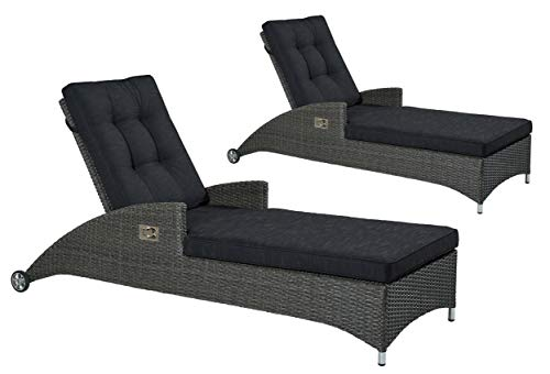 2er Set Poly Rattan Sonnenliege Gartenliege Relaxliege Gartenmöbel verstellbar