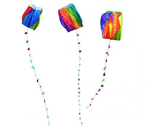 Drachen für Kinder Einleiner Drachen mit Schleifenschwanz ca. 60x51cm mit 30m Drachenschnur Kite Dragonkites