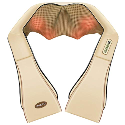 Naipo Massaggiatore per Collo Schiena e Spalle Shiatsu Massaggiatore con Calore Profondo Kneading Panno Antipolvere Tre Intensità Regolabili【Beige】