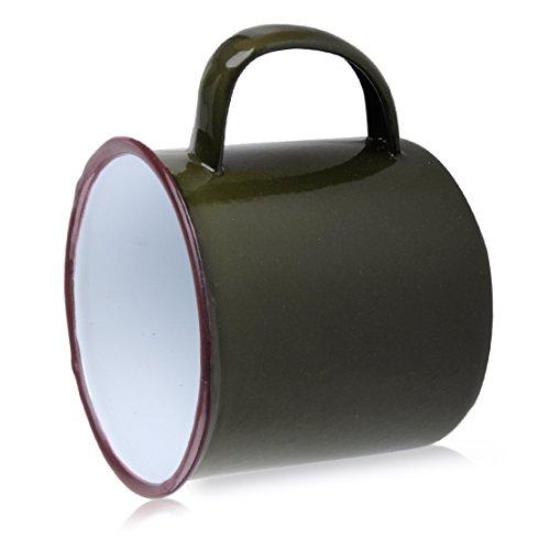 Taza de la Taza del Esmalte Hecha a Mano del Estilo del Vintage de los 8cm para Beber el té del Oso del café Que acampa yendo Verde del ejército