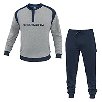 sergio tacchini ensemble de pyjama homme grigio chiaro melange v tements et. Black Bedroom Furniture Sets. Home Design Ideas