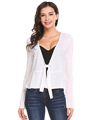 Meaneor Damen Schulterzucken Plain Langen Ärmeln Mit Schnürung Vorn Viskose Weiß XL (Weiß Schulterzucken)