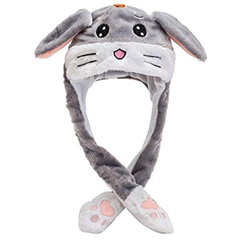 Tonsee Hut mit Hasenohren Plüsch Kaninchen Ohr Hut Stirnband mit Moving Ear Tier Bunny Plüschtier Kappe Haarschmuck Party Geschenk Niedlich Warme Mütze (Grau)