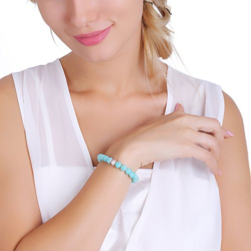 ♛J.Rosée♛ Stretch Bracelet/Ankelt Natural Gemstone 3A 8mm Round Bead Amazonite Jewellery for Women Beloved