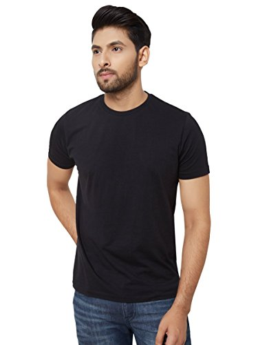 Aristobrat Ninja Black - Cotton Half sleeve Round Neck Plain T Shirt For Men,L