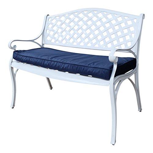 Lazy Susan - JASMINE Gartenbank aus Aluminium, Weiß (Blaues Kissen)