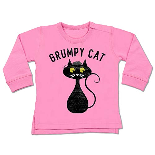 Shirtracer Tiermotive Baby - Grumpy Cat - Nerdy Cats - 12-18 Monate - Pink - BZ31 - Baby Pullover