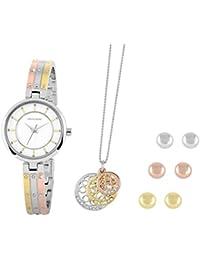 Pierre Cardin Schmuckset für Damen mit Uhr, Kette und 3 Ohrstecker in Geschenkbox, ideal als Geschenk Weihnachtsgeschenk für die elegante Frau