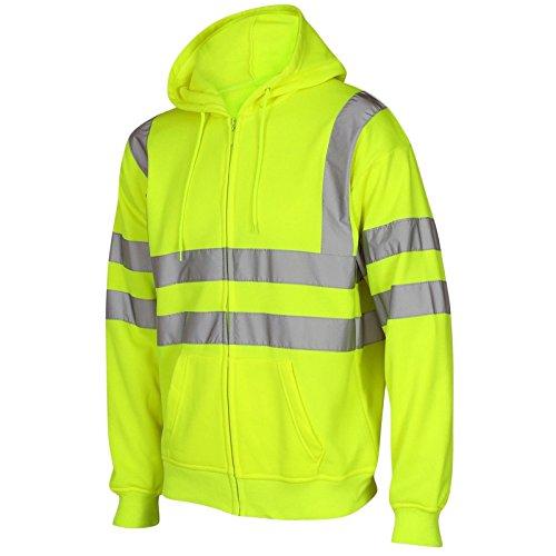 Ad alta visibilità con cappuccio alta visibilità riflettente nastro fascia di sicurezza da lavoro pile felpe con cappuccio uomo giacca calda di sicurezza da lavoro abbigliamento da lavoro con cappuccio jumper top Plus grandi dimensioni S-5X L Yellow / Zip Up L