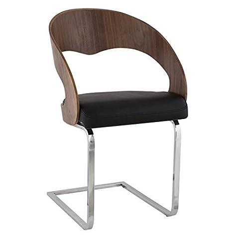 Chaise LOLA pour salle à manger en similicuir noir/walnut